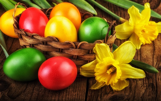 Wallpaper Easter, yellow narcissus flowers, colorful eggs, basket