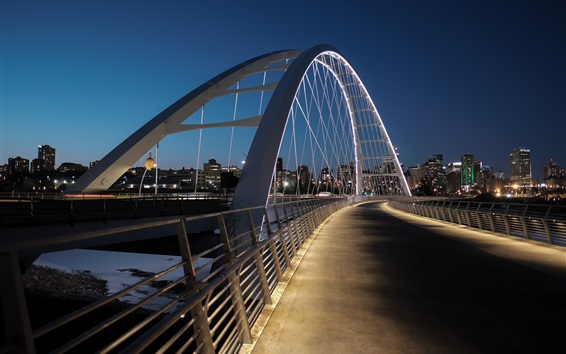 Wallpaper Edmonton, Canada, bridge, lights, night