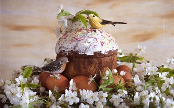 Wallpaper Eggs, cake, birds, flowers, Easter