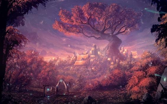 桌布 幻想森林城市,大門,森林,房屋,藝術畫