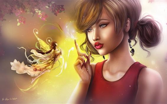 Hintergrundbilder Fantasiemädchen, Fee, Kunstbild