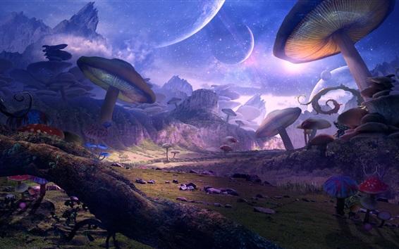 Hintergrundbilder Fantasiewelt, Planet, Pilze, Kunstbild