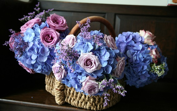 Wallpaper Flowers, basket, pink roses, blue hydrangea
