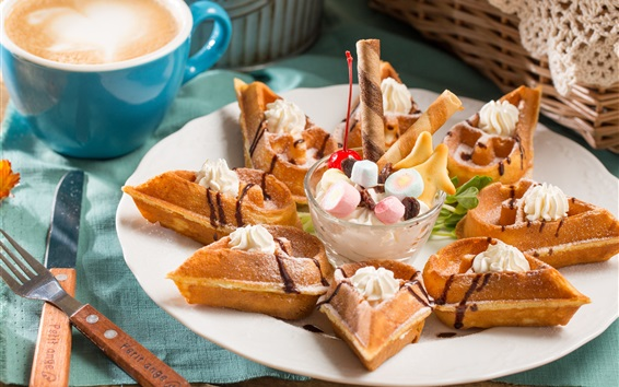 Wallpaper Food, dessert, waffles, coffee, fork