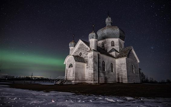 배경 화면 잊혀진 교회, 서스 캐처 완 주, 캐나다, 별이 빛나는, 밤