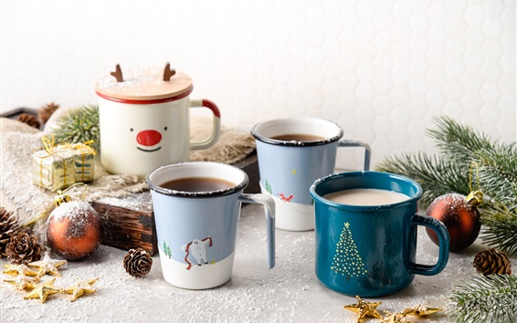 Wallpaper Four cups of coffee, spruce twigs, balls, gift, Christmas
