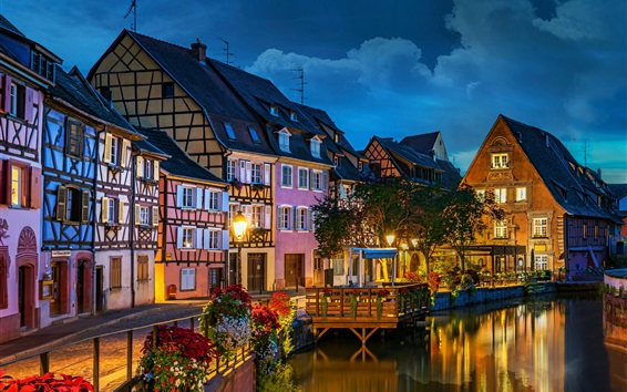 Wallpaper France, Colmar, Little Venice, city, river, flowers, night, lights