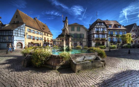 Обои Франция, Эгисхайм, памятник, город, здания