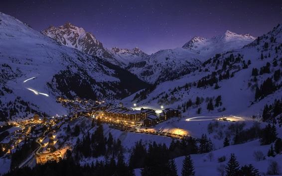 Wallpaper France, Meribel, city, night, snow, lights
