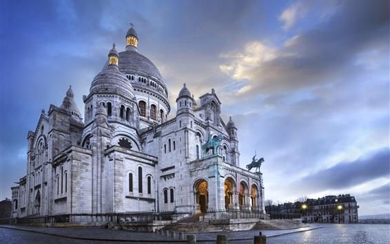 壁紙 フランス、パリ、サクレクール、雲、夕暮れ