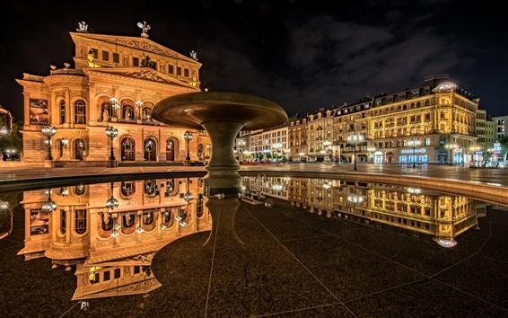 Wallpaper Frankfurt am Main, Germany, Old Opera, reflection, night