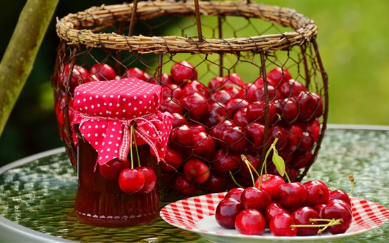 Wallpaper Fresh cherry, fruit, jam
