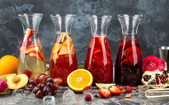 Wallpaper Fruit drinks, juice, citrus, grapes, orange, berries