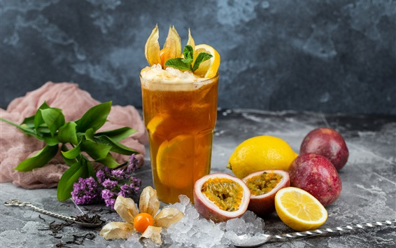 Wallpaper Fruit drinks, passion fruit, lemon