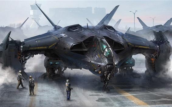 Papéis de Parede Arte futurista de desenho, aeronaves