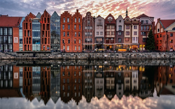 Wallpaper Gdansk, Poland, river, houses, water reflection