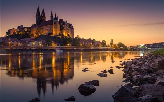 Wallpaper Germany, Albrechtsburg Castle, river, night, lights