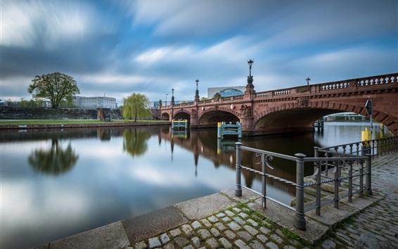 Wallpaper Germany, Spree, Berlin, bridge, river, city