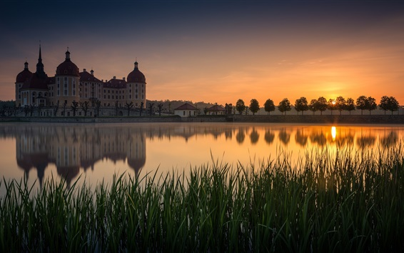 Wallpaper Germany, castle, pond, grass, sunset