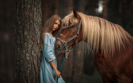 Wallpaper Girl and brown horse, tree