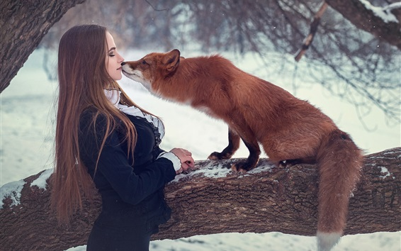 Wallpaper Girl and fox, kiss, snow, winter