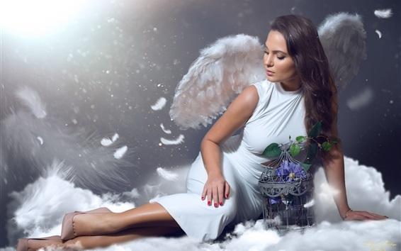 Papéis de Parede Garota, anjo, asas, fotografia de arte
