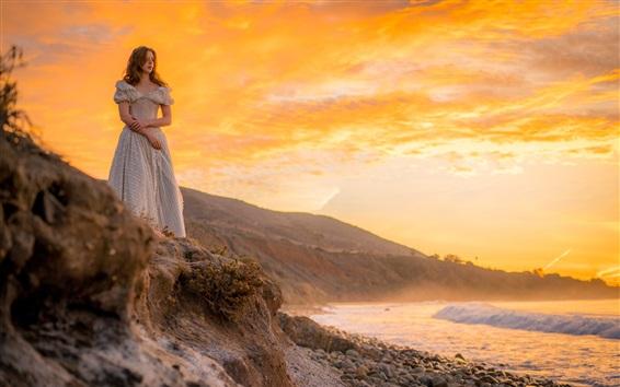 Mädchen Bei Sonnenuntergang Meer Wartend 3840x2160 Uhd 4k