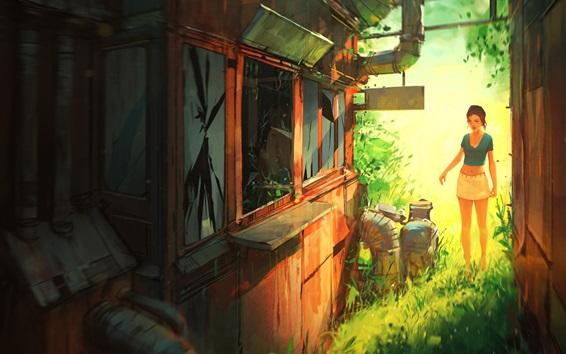 배경 화면 소녀, 집, 잔디, 바깥 쪽, 스케치