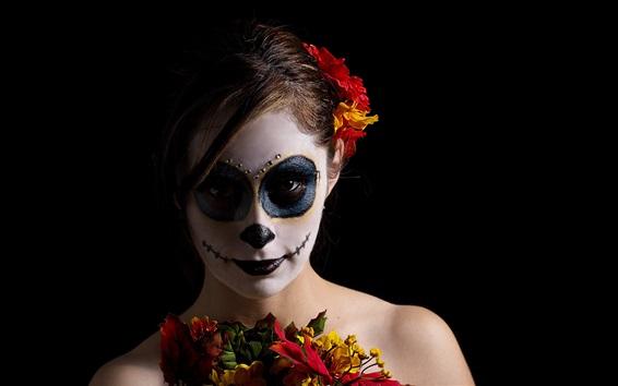 Wallpaper Girl, makeup, clown, black background