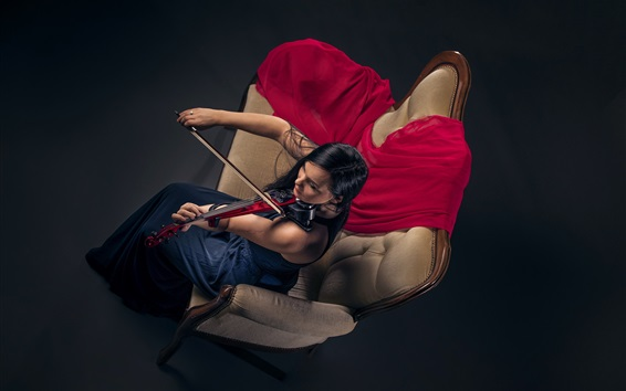 Wallpaper Girl play violin, sofa, top view