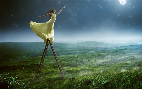 Wallpaper Girl want to get moon, yellow skirt, grass, creative photography