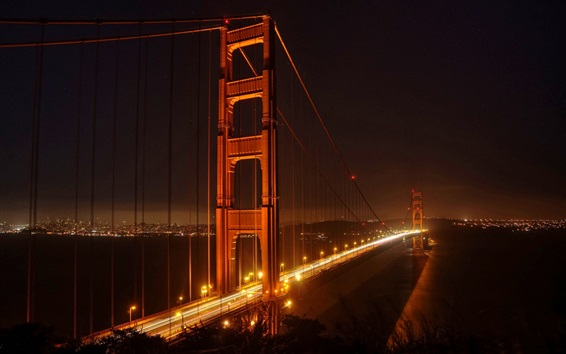Wallpaper Golden Gate Bridge, San Francisco, night, lights, city, USA
