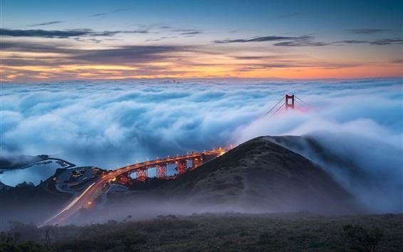 Fondos de pantalla Puente Golden Gate, niebla, mañana, Estados Unidos