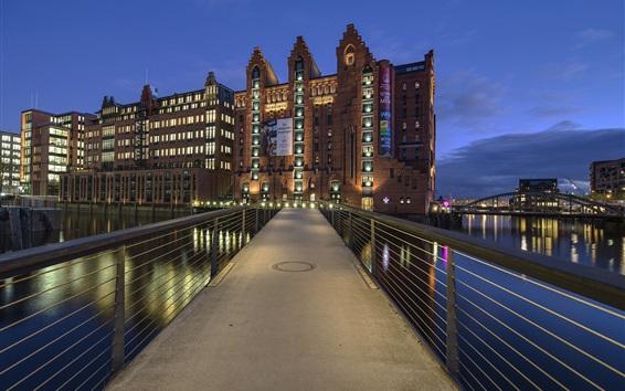 壁紙 ハンブルク、ドイツ、海洋博物館、夜、川、橋
