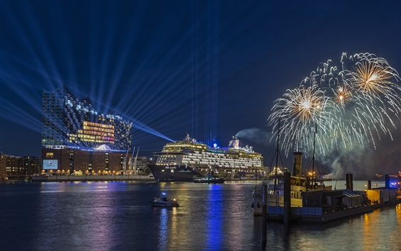 Wallpaper Hamburg, Germany, city night, ships, sea, fireworks