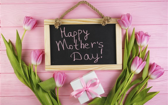 Wallpaper Happy Mother's Day, pink tulips, gift