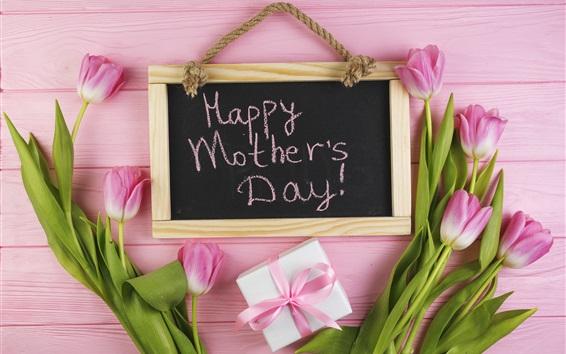 壁紙 幸せな母の日、ピンクのチューリップ、贈り物