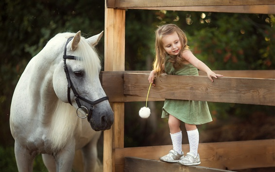 Wallpaper Happy little girl and white horse, fence