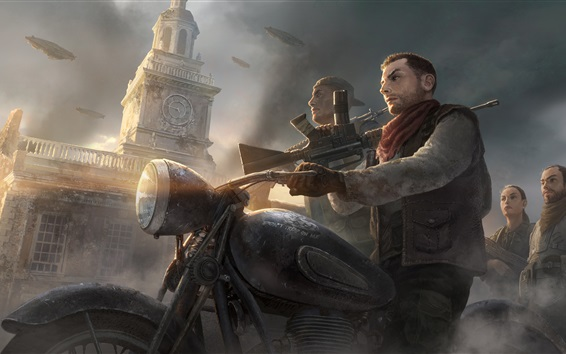 Wallpaper Homefront: The Revolution, motorcycle, weapon