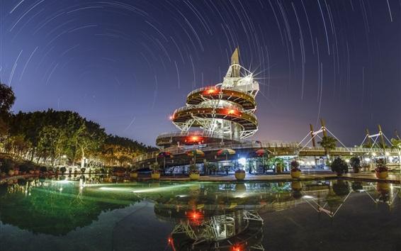 桌布 香港,城市,夜晚,燈光,建築