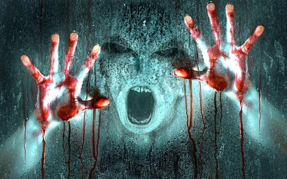Wallpaper Horror, hands, face, blood, glass, rain