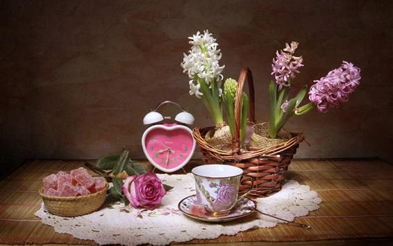 배경 화면 히아신스, 컵, 시계, 설탕, 장미, 정물