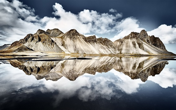 Wallpaper Iceland, Vestrahorn mountain, water reflection, sea