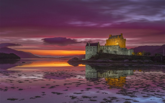 Wallpaper Ireland, castle, sunset, river
