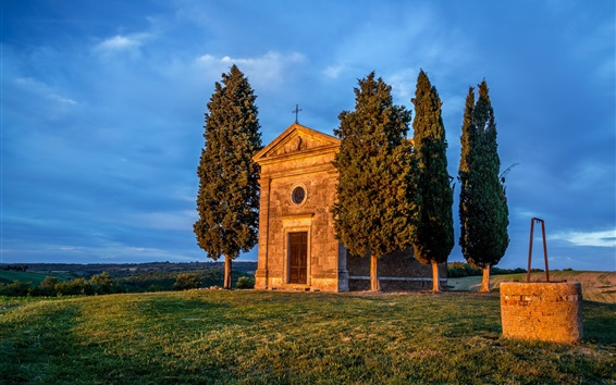 Wallpaper Italy, Tuscany, Vitaleta Chapel, trees, grass, blue sky
