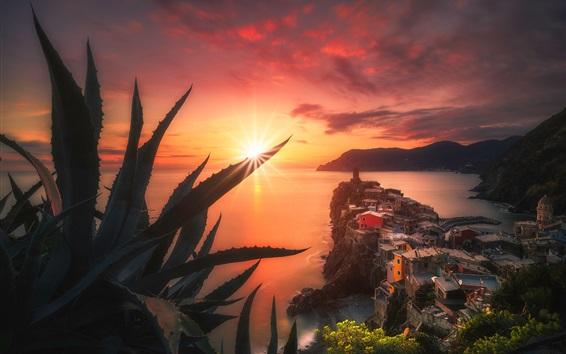 Обои Италия, море, побережье, дома, растения, закат