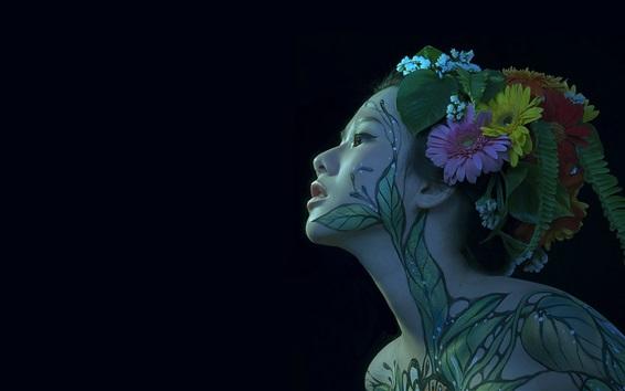 Wallpaper Japanese girl, body painting, face, black background