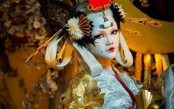 Wallpaper Japanese girl, makeup, retro style