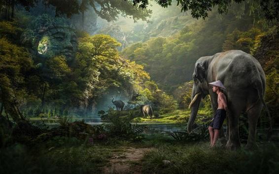 Wallpaper Jungle, boy, elephants, trees