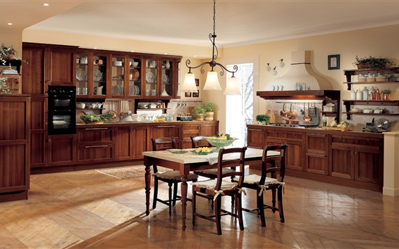 Wallpaper Kitchen, dining room, interior, table, furniture